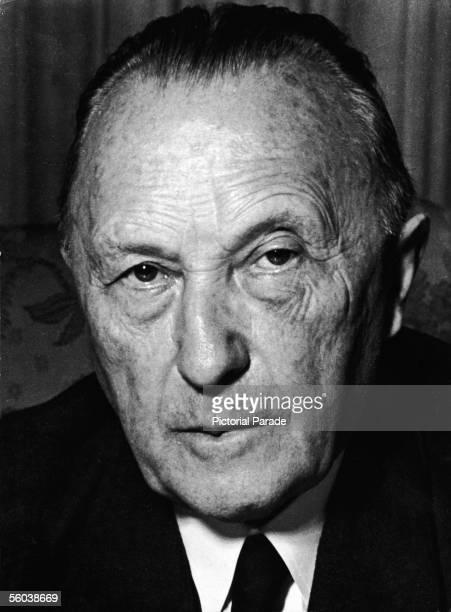 Headshot of German politician Konrad Adenauer , the chancellor of West Germany, 1962.