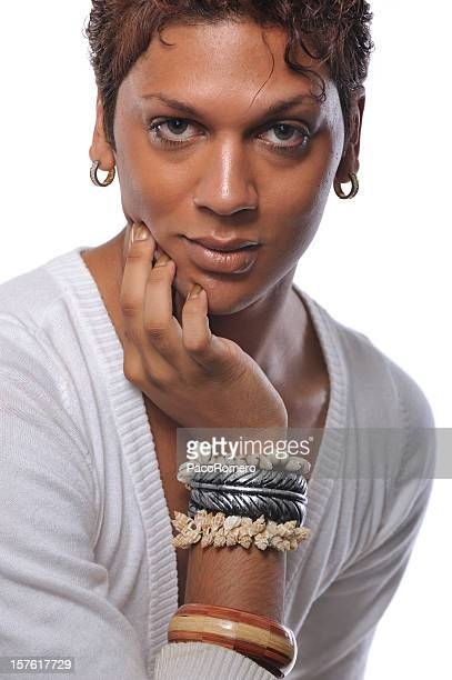 headshot of handsome androgynous man - transvestite stock photos and pictures