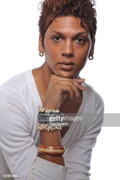 headshot of handsome gay man - young crossdressers stock photos and pictures