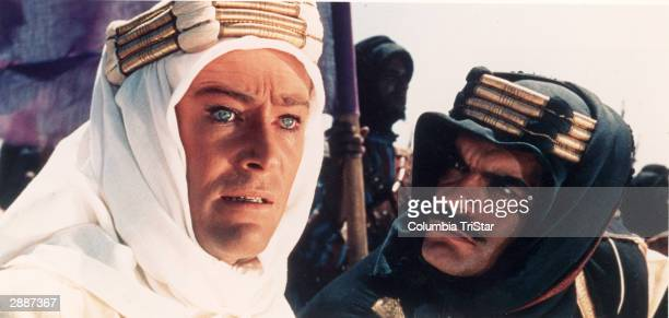 Headshot of Irish actor Peter O'Toole and Egyptianborn actor Omar Sharif in a still from the film 'Lawrence of Arabia' directed by David Lean 1962