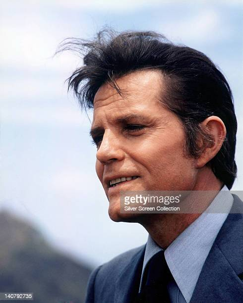 Headshot of Jack Lord US actor in a profile in a publicity portrait issued for the US television series 'Hawaii Five0' USA circa 1975 The police...