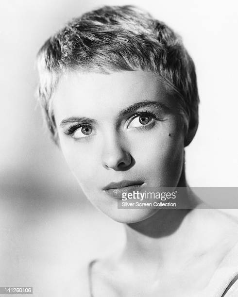 Headshot of Jean Seberg US actress her eyes glancing to the right of the image circa 1960