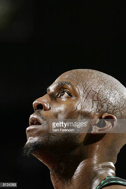 Headshot of Kevin Garnett of the Minnesota Timberwolves during the game against the Portland Trail Blazers on March 10 2004 at the Rose Garden in...