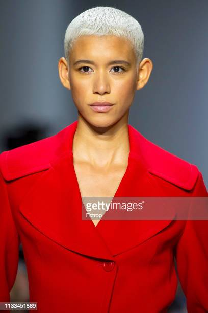Headshot of model Dilone at the Akris show at Paris Fashion Week Autumn/Winter 2019/20 on March 3 2019 in Paris France