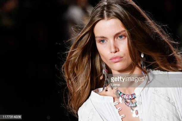 Headshot of model Luna Bijl during the Isabel Marant Womenswear Spring/Summer 2020 show as part of Paris Fashion Week on September 26, 2019 in Paris,...