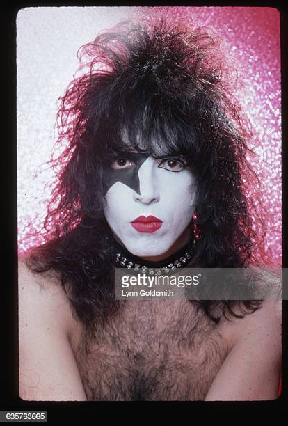 Headshot of musician Paul Stanley of the glamrock band Kiss wearing his makeup for stage He is shirtles and alone Photo circa 1980