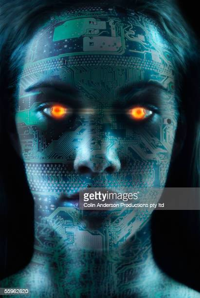 Headshot of robotic woman