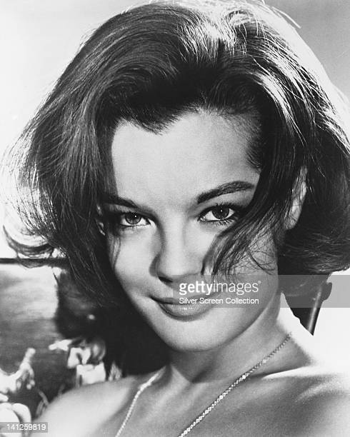 Headshot of Romy Schneider Austrian actress wearing a neckchain circa 1965