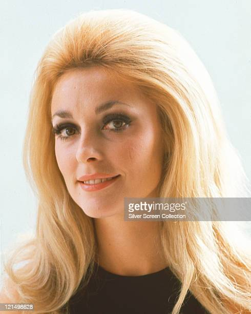 Headshot of Sharon Tate US actress wearing a black roundneck jumper in a studio portrait against a white background circa 1965