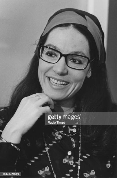 Headshot of singer Nana Mouskouri, April 1974.