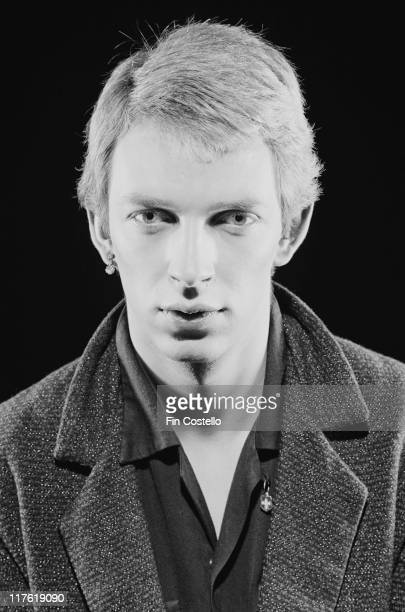 Headshot of Steven Severin bassist with British New Wave band Siouxsie and the Banshees in a studio portrait in March 1979