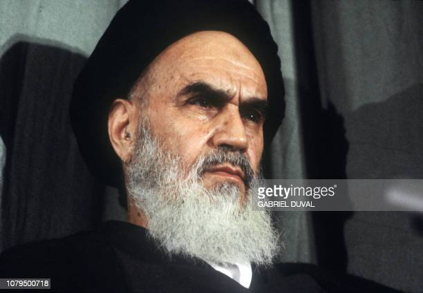 A headshot of the Ayatollah Ruhollah Khomeini taken in Tehran 05 February 1979 during a meeting shortly after his return from 15 years of exile as...