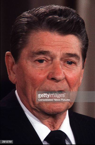 Headshot of U.S. President Ronald Reagan speaking during a press conference in the East Room of the White House, Washington, D.C., April 7, 1986.