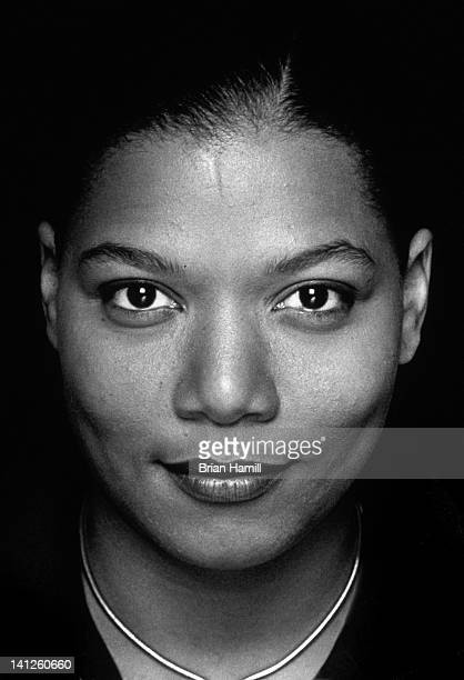 Headshot portrait of American actress and rapper Queen Latifah Los Angeles California 1996 The photo was taken on the set of the Barry...