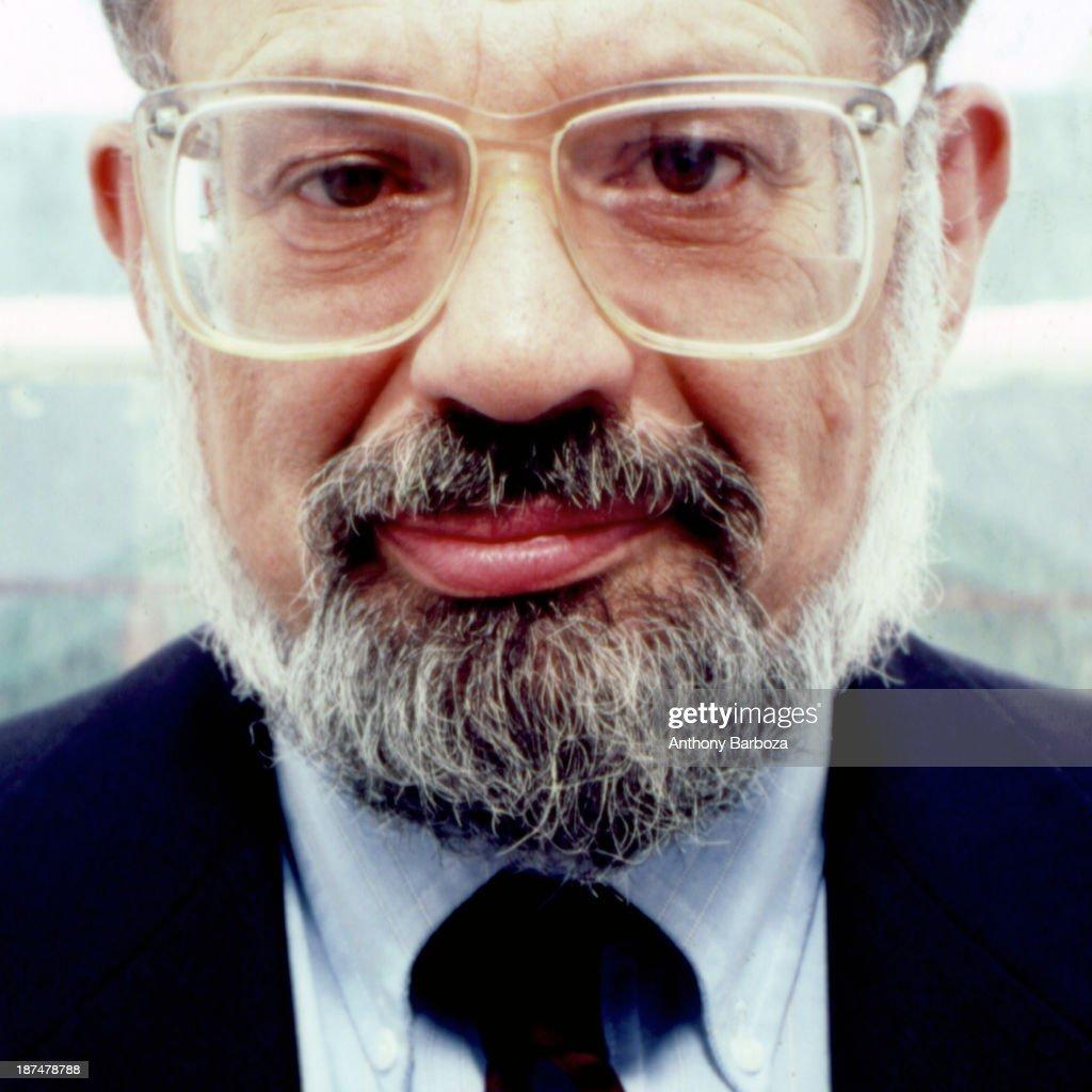 Headshot portrait of American Beat poet Allen Ginsberg (1926 - 1997), New York, New York, 1987.