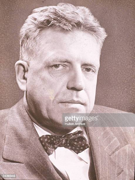 Headshot portrait of American entomologist and sexuality researcher Dr Alfred Kinsey circa 1954