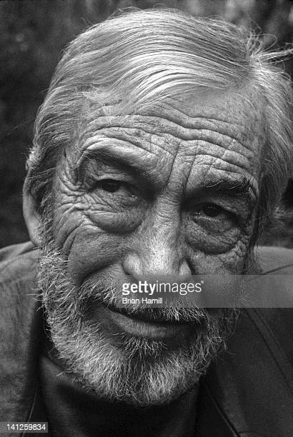 Headshot portrait of American film director John Huston as he poses in the Pacific Palisades neighborhood of Los Angeles California 1973