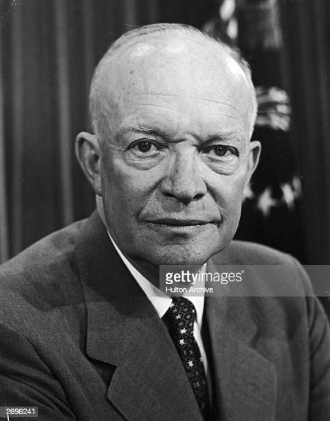Headshot portrait of American president Dwight D Eisenhower taken during his first term