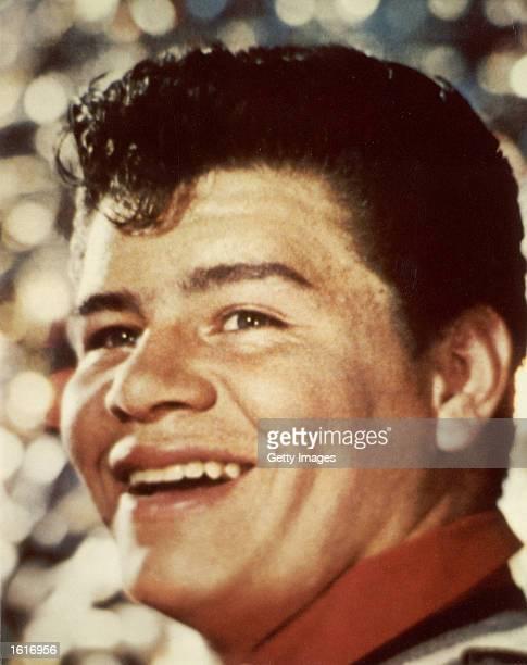 Headshot portrait of American singer Ritchie Valens c 1959