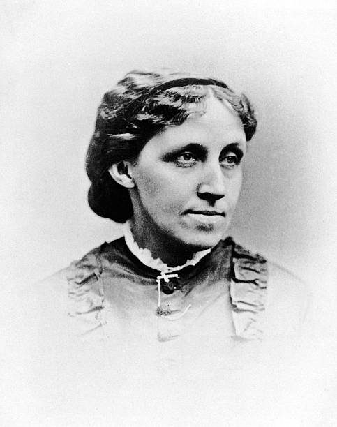 Headshot portrait of American writer Louisa May Alcott...
