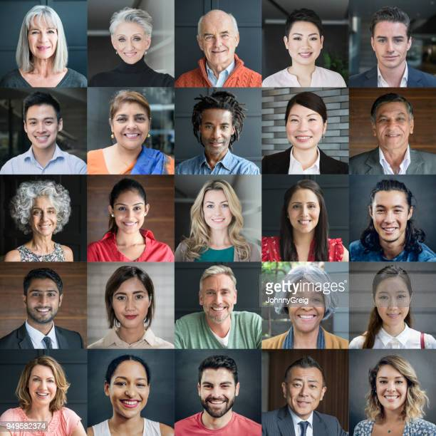 headshot portraits of diverse smiling people - global village stock pictures, royalty-free photos & images