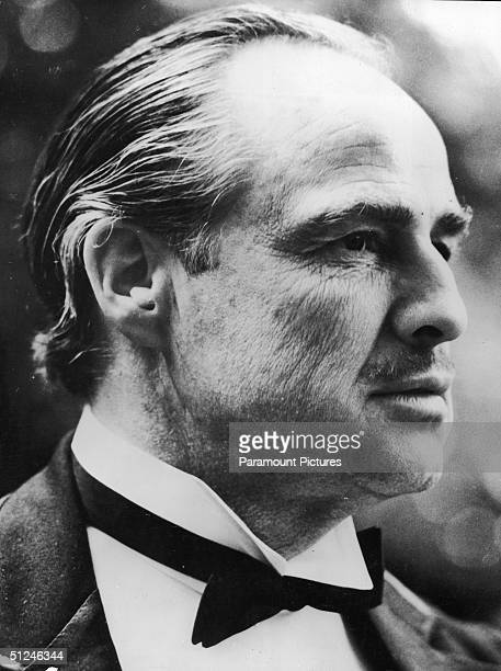 1972 Headshot still of American actor Marlon Brando as Don Vito Corleone in director Francis Ford Coppola's film 'The Godfather' based on the novel...