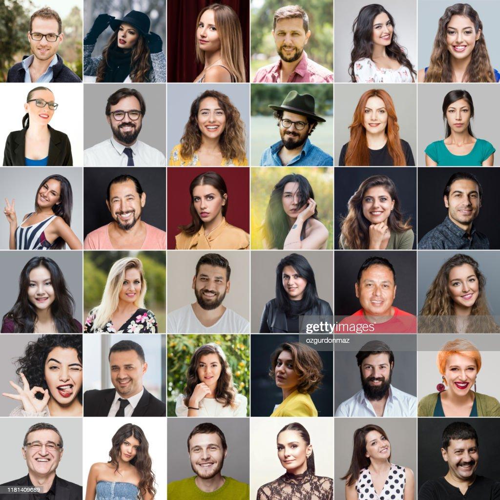 Headshots do grupo multi-ethnic : Foto de stock