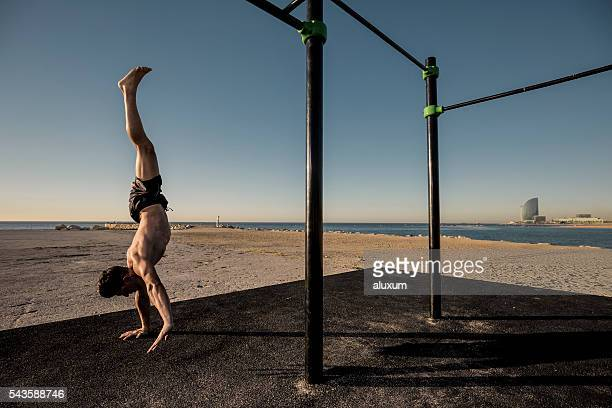 Headstand and calisthenics