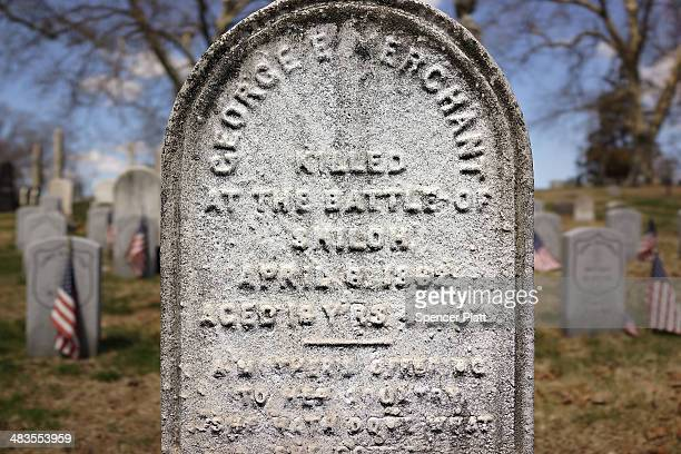 A headstone for a man killed in the battle of Shiloh during the American Civil War is viewed at GreenWood Cemetery on the 149th anniversary of the...