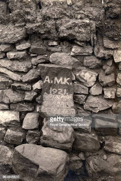 Headstone for the grave of Dr Kellas at Kampa Dzong China May 1921 Mount Everest Expedition 1921