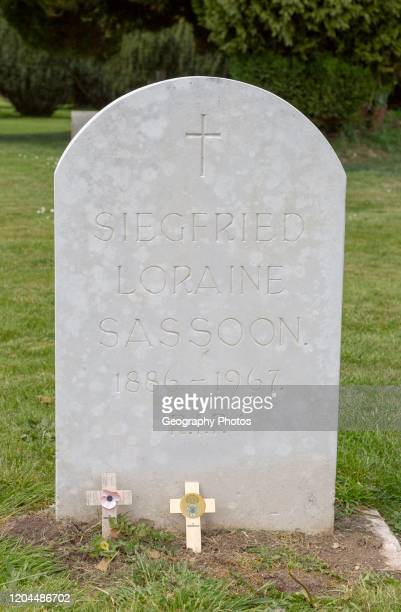 Headstone grave of war poet and author Siegfried Sassoon 1886-1967, Mells, Somerset, England, UK.