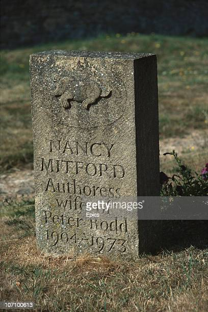 Headstone marking the grave of English author and biographer Nancy Mitford in Swinbrook churchyard, Oxfordshire, August 1984.