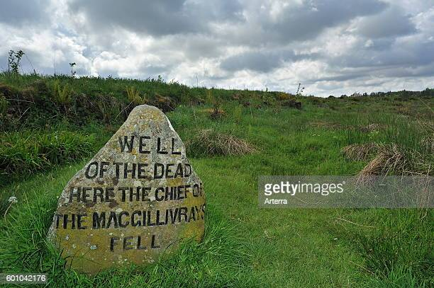 Headstone that marks where the MacGillivray chief fell at the Culloden battlefield Scotland UK
