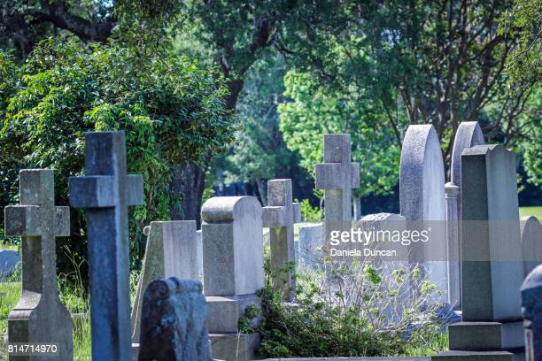 headstones and crosses at cemetery - place of burial stock pictures, royalty-free photos & images