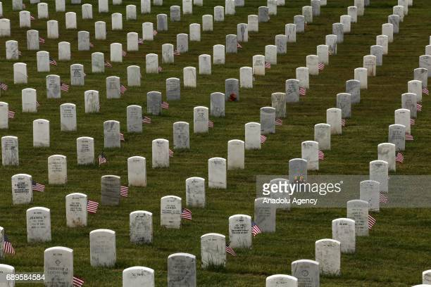 Headstones are seen during Memorial Day weekend at the Golden Gate National Cemetery in San Bruno, USA on May 28, 2017.
