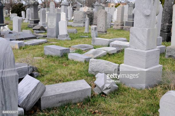 Headstones are seen laying flat at Han Nebo Jewish Cemetery in Northwest Philadelphia PA on Feb 27 2017 Over the weekend hundreds of headstones were...
