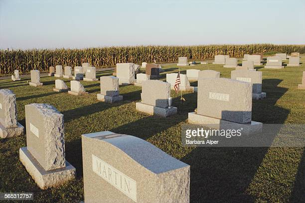 Headstones at a cemetery in Lancaster, Pennsylvania, USA, 30th August 1986.