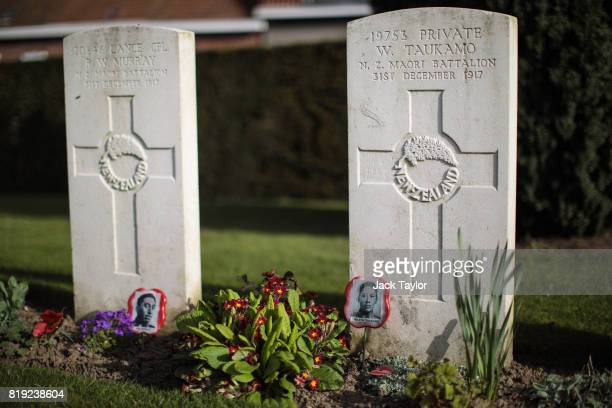 Headstones mark the graves of soldiers from the WW1 Maori Battalion at the Ramparts Cemetery on April 6, 2017 in Ypres, Belgium. July 31st marks the...