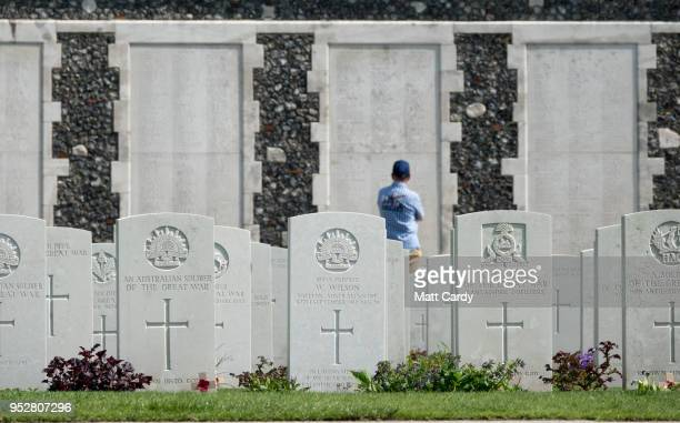 Headstones of fallen soldiers from the First World War are seen at the Tyne Cot Cemetery the largest Commonwealth War Graves Commission cemetery in...