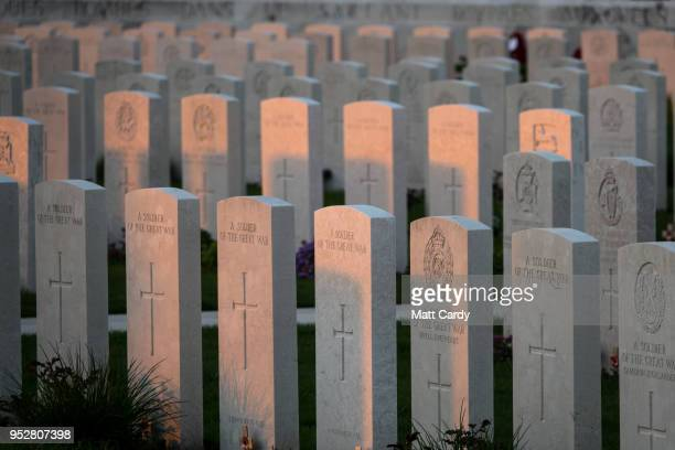 Headstones of fallen soldiers from the First World War are seen at the Tyne Cot Cemetery, the largest Commonwealth War Graves Commission cemetery in...