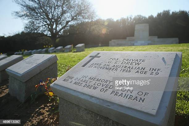 Headstones of mostly Australian soldiers killed during the Gallipoli Campaign lie at Ari Burnu Cemetery at Anzac Cove on April 8, 2015 near Eceabat,...