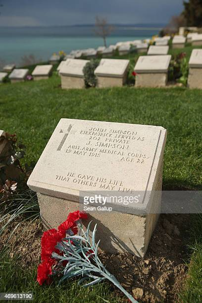Headstones of mostly Australian soldiers killed during the Gallipoli Campaign lie at Beach Cemetery at Anzac Cove on April 8, 2015 near Eceabat,...