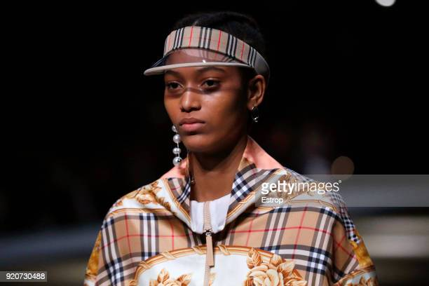 Headwear detail at the Burberry show during London Fashion Week February 2018 at Dimco Buildings on February 17 2018 in London England