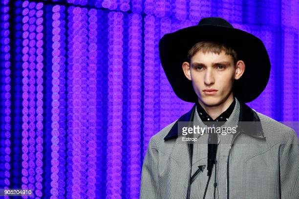 Headwear detail at the Dsquared2 show during Milan Men's Fashion Week Fall/Winter 2018/19 on January 14 2018 in Milan Italy