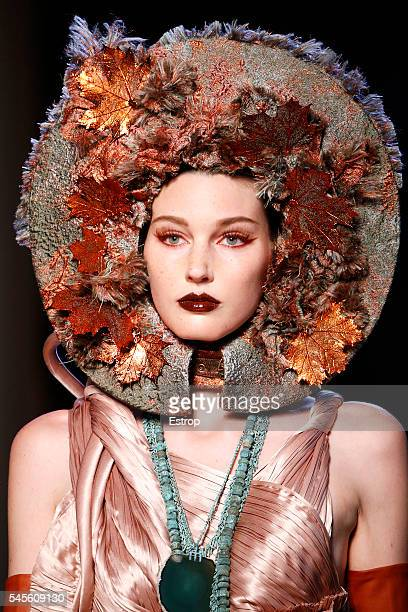 Headwear detail at the Jean Paul Gaultier Haute Couture Fall/Winter 20162017 show as part of Paris Fashion Week on July 6 2016 in Paris France