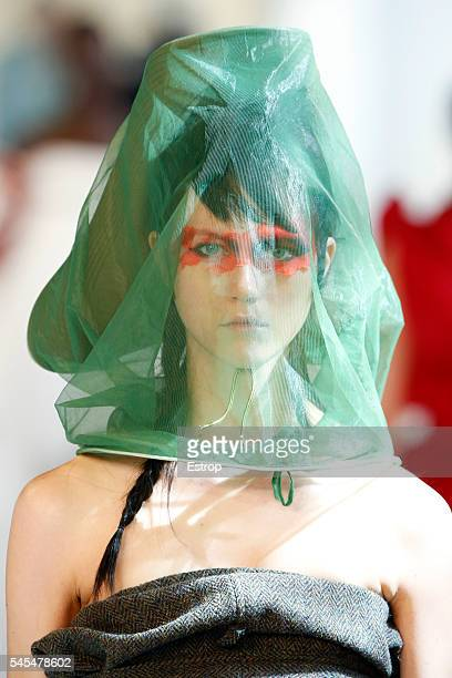 Headwear detail at the Maison Margiela designd by John Galliano Haute Couture Fall/Winter 20162017 show as part of Paris Fashion Week on July 6 2016...
