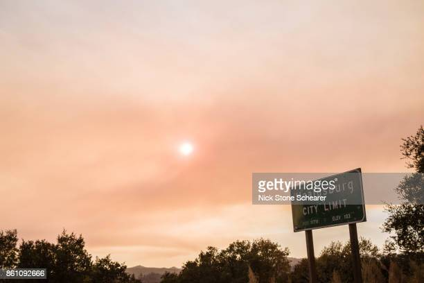 Healdsburg Sign Under Smokey Red Sky