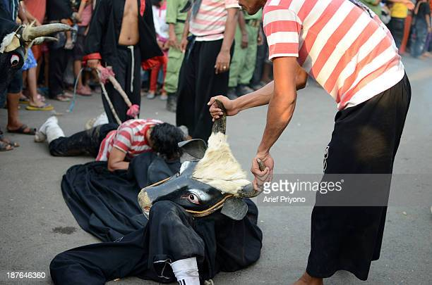 A healer tries to cure a performer who has become entranced in a traditional art performance known as Bantengan in Trowulan village Bantengan is a...