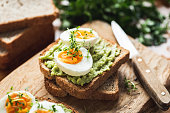 Healhy Breakfast Toast With Avocado, Egg