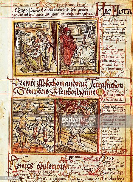 Healing illness, from the Treatise on pestilence by Sigismund Albik, incunabulum, Czech Republic 15th Century.